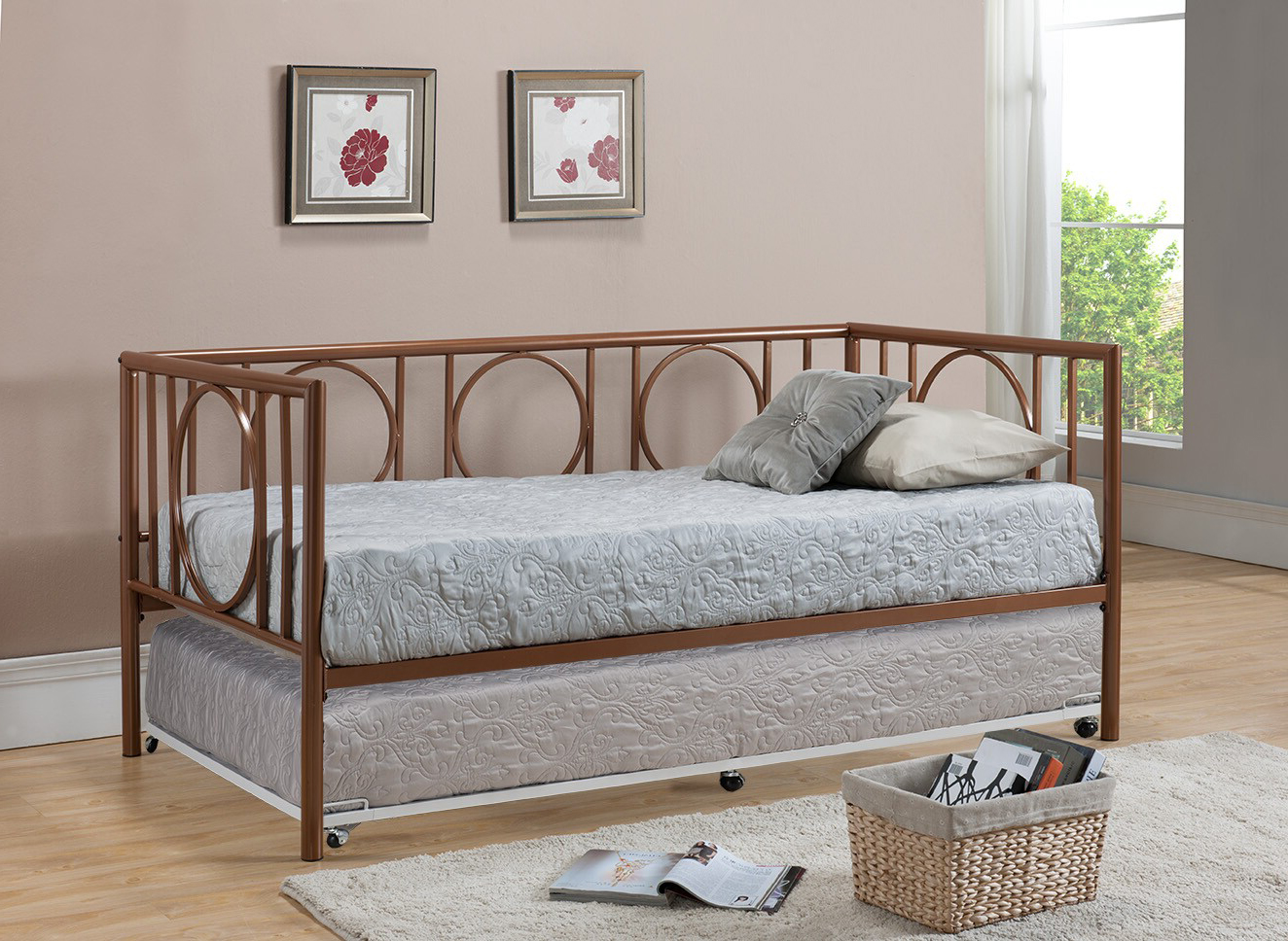 twin size copper metal day bed frame with white popup high riser trundle