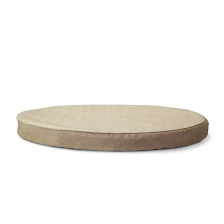 FurHaven Pet Dog Bed | Orthopedic Round Faux Sheepskin & Suede Pet Bed for Dogs & Cats, Clay, 26