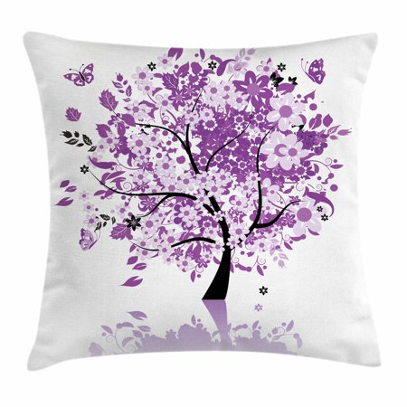 - Nature Throw Pillow Cushion Cover, Spring Tree of Life Sacred Woods with Blooming Flower and Butterfly Flying Romance, Decorative Square Accent Pillow Case, 18 X 18 Inches, Lilac Purple, by Ambesonne