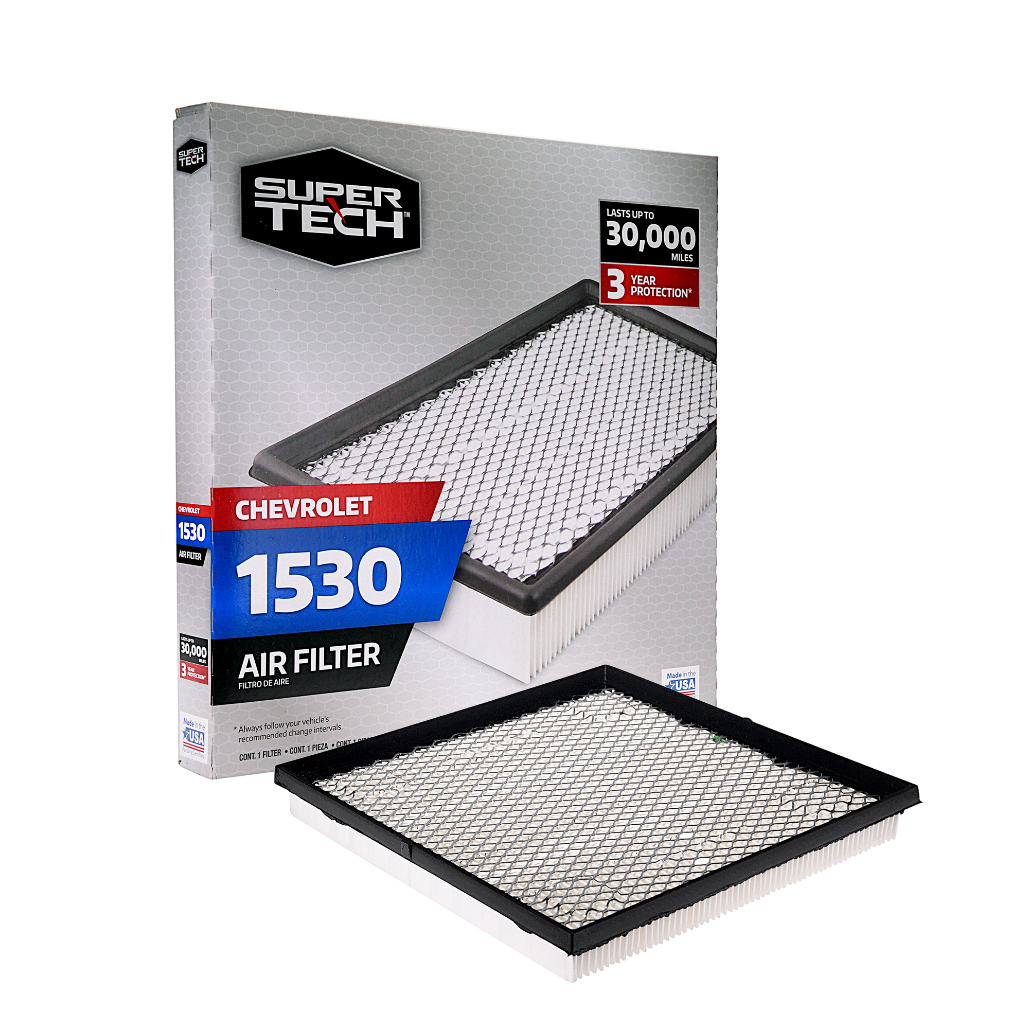 SuperTech 1530 Engine Air Filter, Replacement Filter for GM or Chevrolet