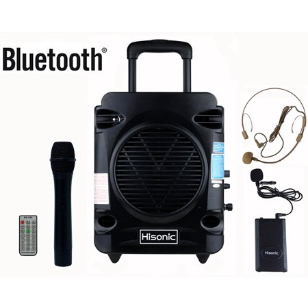 Hisonic HS700 True RMS 35 Watts Rechargeable Portable PA System with Built-in Dual VHF Wireless Microphones with Bluetooth Connection, Music Player/Recorder & FM Radio, Remote (Vhf Wireless Pa System)