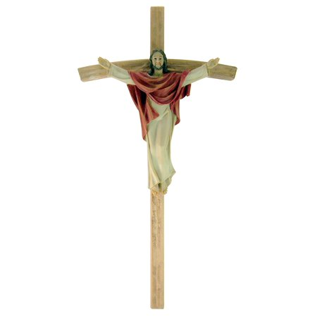 Risen Christ on Papal Cross 18 Inch Wall Crucifix for Home or Chapel Sanctuary Decor, Resin - 18