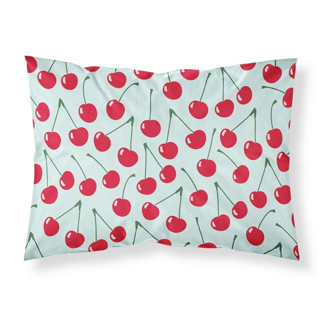 Carolines Treasures BB5148PILLOWCASE Cherries on Blue Fabric Standard Pillowcase - image 1 of 1