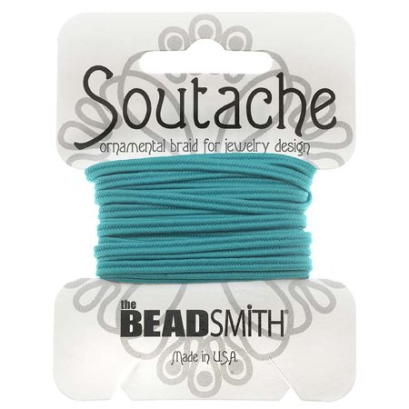 Soutache Cord - BeadSmith Soutache Braided Cord 3mm Wide - Aqua Blue (3 Yard Card)
