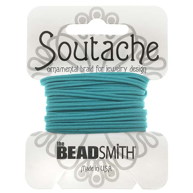 BeadSmith Soutache Braided Cord 3mm Wide - Aqua Blue (3 Yard Card)