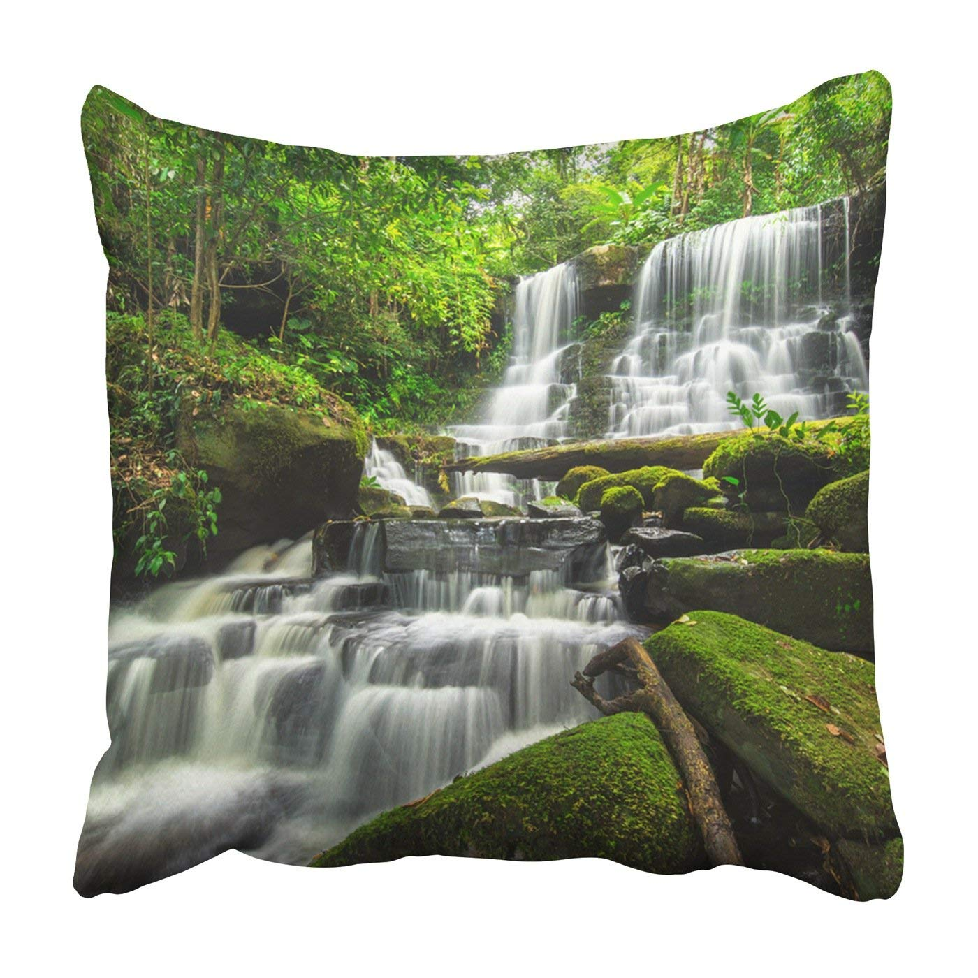 WOPOP beautiful waterfall in green forest Pillowcase Throw Pillow Cover Case 20x20 inches