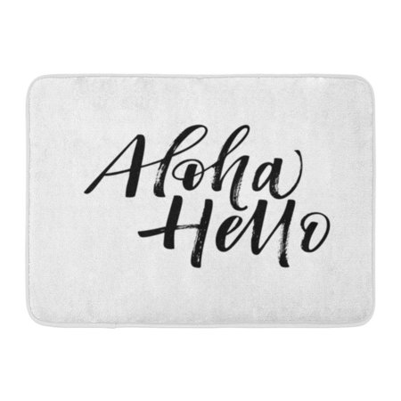 Welcome Phrases Mini - GODPOK Artistic Black Text Aloha and Hello Phrase Ink Modern Brush Calligraphy White Abstract Beach Rug Doormat Bath Mat 23.6x15.7 inch