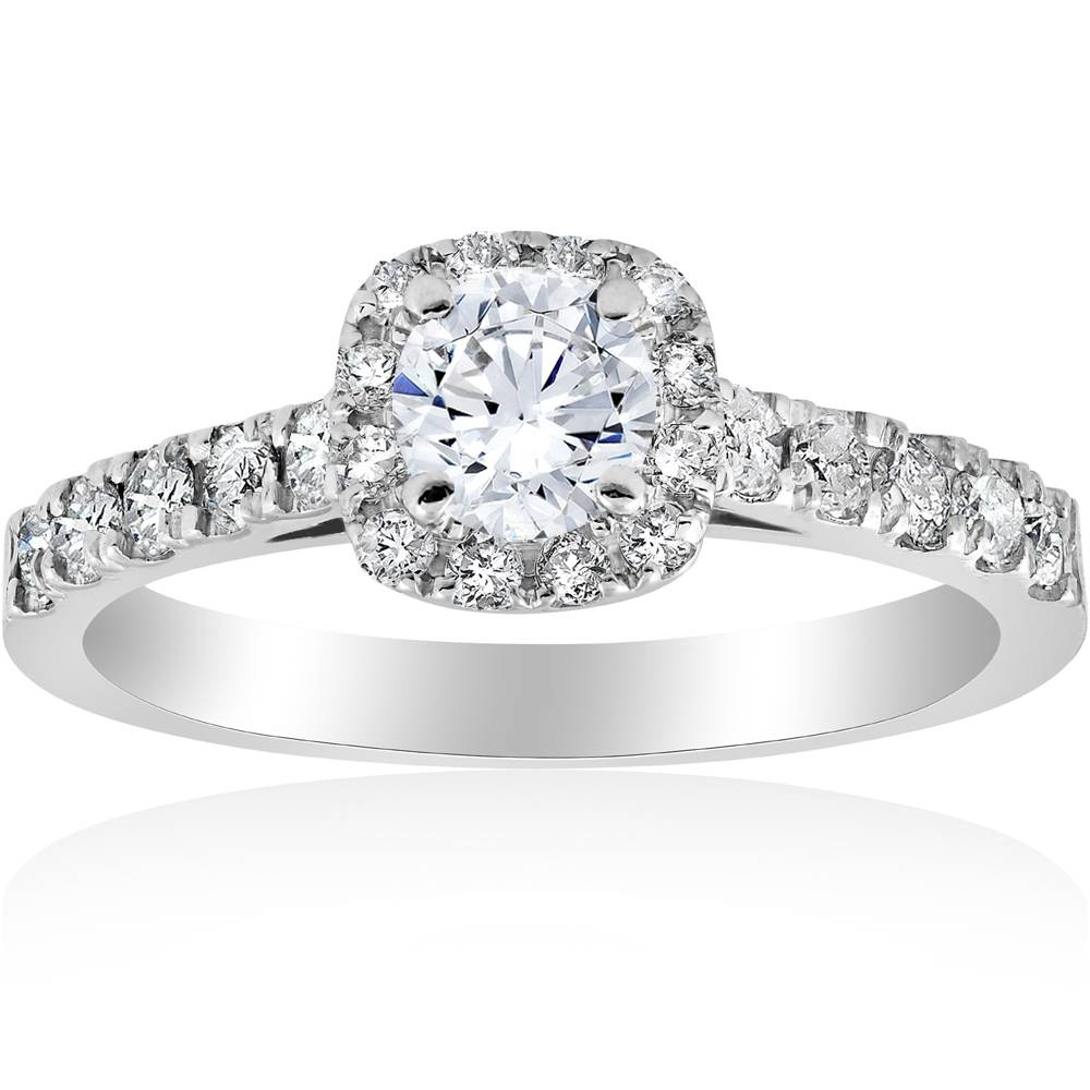 1 ct Cushion Halo Round Solitaire Diamond Engagement Ring 14K White Gold by Pompeii3