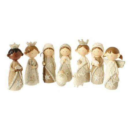 9-Piece Religious Faux Knit Children's First Christmas Nativity Set - Child Nativity Set