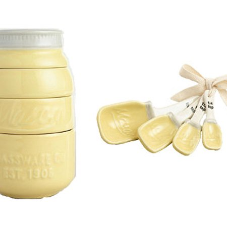 2 Piece Jar - Yellow 2 Piece Combination Ceramic Mason Jar Measuring Spoons and Measuring Cups Set