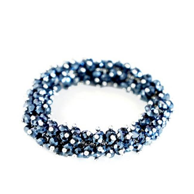 C Jewelry Glass Crystal Seed Beads Stretch Bracelet, Hematite-Navy