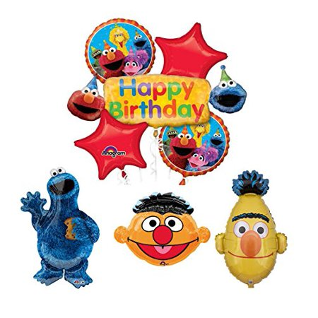 Sesame Street Cookie Monster Bert and Ernie Birthday Party Supplies and Balloon Bouquet Decorations