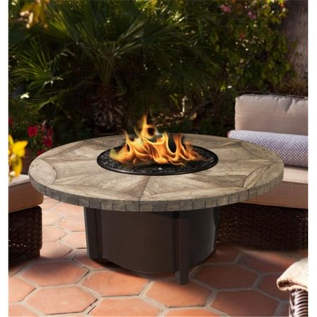 Carmel Chat Height Fire Pit with Copper Reflective Glass & 48 in. Gray Travertine Tile Top, Brown ()