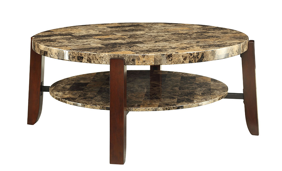 ACME Lilith Coffee Table, Faux Marble & Cherry by Acme