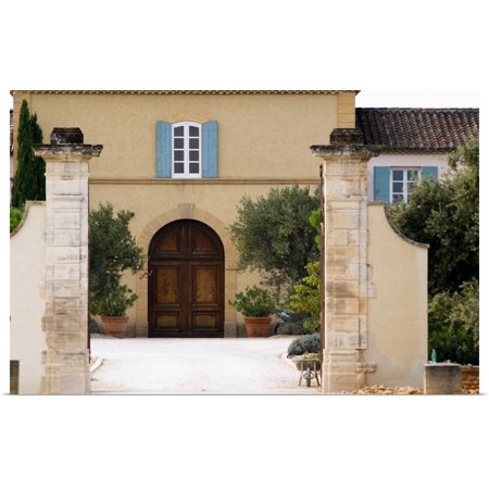 Main Stone - Great BIG Canvas | Rolled Per Karlsson Poster Print entitled The main entrance and building with stone portico, Chateau de Beaucastel, France