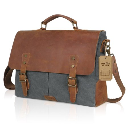 "Lifewit 15.6"" Genuine Leather Vintage Laptop Bag, Canvas Messenger Satchel Bag Grey"