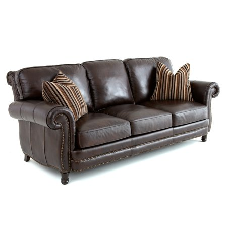 Steve Silver Chateau Leather Sofa with 2 Accent Pillows - Antique Chocolate Brown - Walmart.com