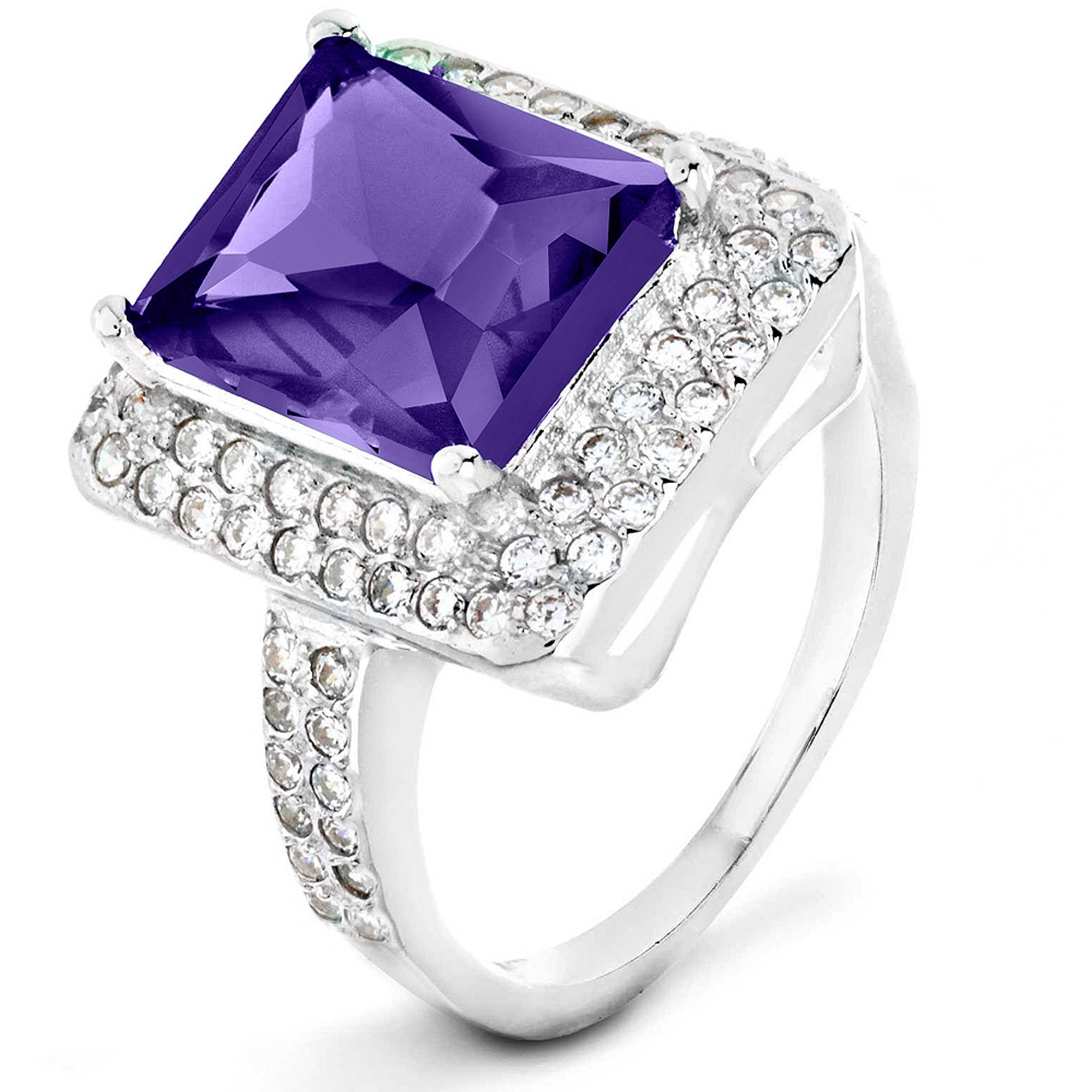 ELYA Sterling Silver Amethyst Purple Radiant-Cut CZ Double Halo Ring