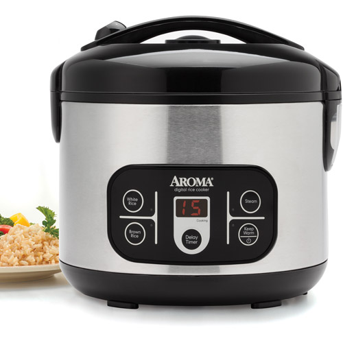 Aroma 12-Cup Digital Rice Cooker and Food Steamer, Stainless Steel