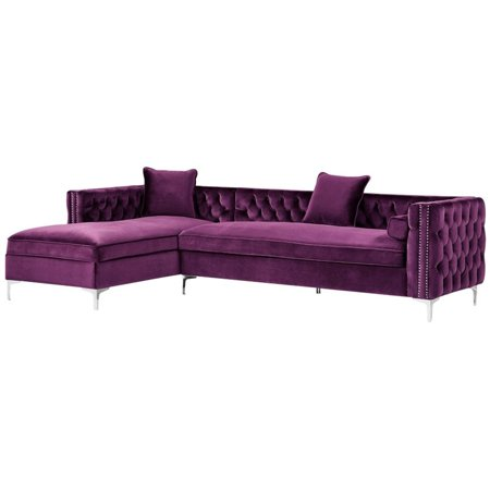 Magnificent Levi Purple Velvet Chaise Sectional Sofa 115 Inches Left Facing Ibusinesslaw Wood Chair Design Ideas Ibusinesslaworg