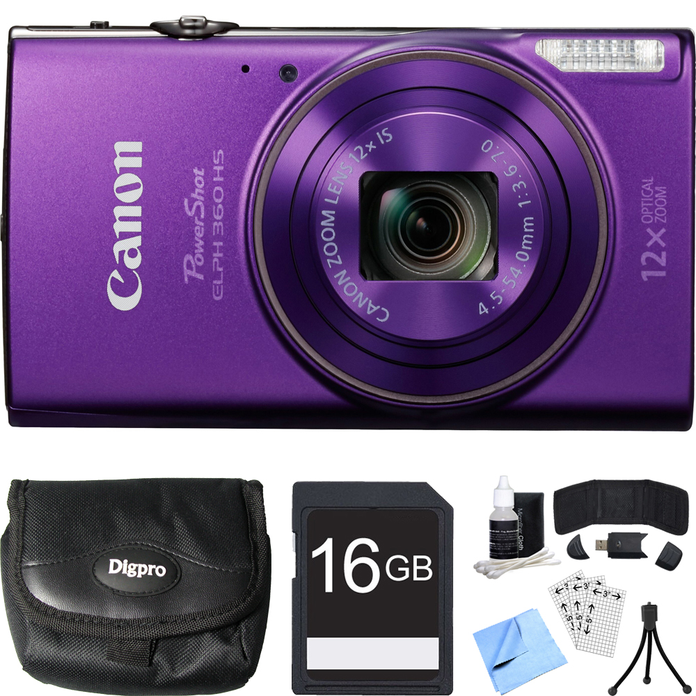 Canon PowerShot ELPH 360 HS Purple Digital Camera 16GB Card Bundle includes Camera, 16GB Memory Card, Reader, Wallet, Case, Mini Tripod, Screen Protectors, Cleaning Kit and Beach Camera Cloth