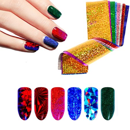 Beaute Galleria 50 Pieces Shiny Sparkly Laser Holographic Galaxy Starry Sky  Colorful Nail Transfer Foils Glitter Flakes Sequins Paillette Sticker