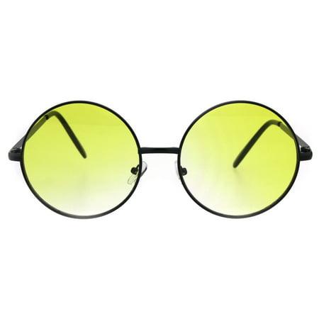 Round Circle Lens Hippie Metal Rim Gradient Sunglasses Black - Yellow Sunglasses