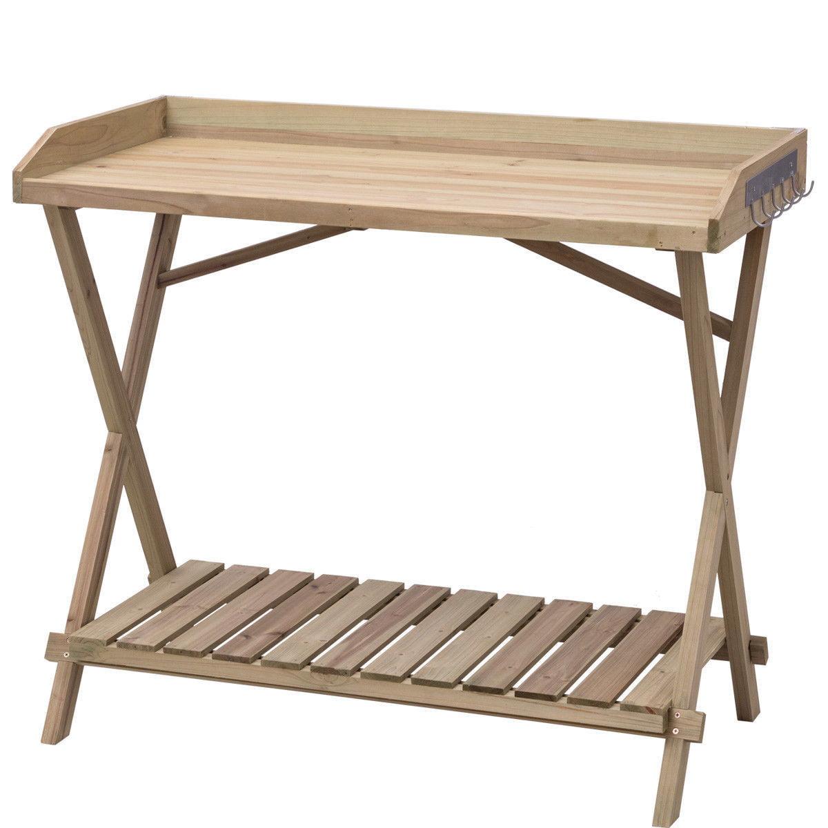"GHP 40""x21""x35"" Fir Wood Top Workspace Side Hooks & Slatted Bottom Potting Bench"