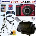 Olympus Pen E-PL2 12.3MP DSLR Camera Red and 14-42mm II Lens Black 16GB DLX Kit with Adobe Lightroom 5 Included