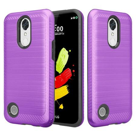 LG V5, LG Grace, LG K20 V, LG K20 Plus, LG K10 2017, LG Harmony, Hybrid EZ Grip Dual Layer[Shock Resistant] Metallic Brush Armor Case - Purple (Metallic Sonnenbrille 2017)