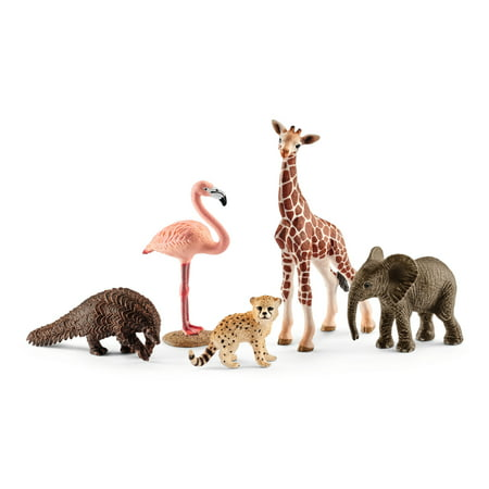 Cow Schleich Animal (Schleich Wild Life, Wildlife Animal Assortment (Giraffe, Anteater, Elephant, Cheetah, Flamingo) Toy)