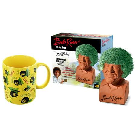 Bob Ross Chia Pet & Happy Trees Mug Gift Set - Chia Pet Halloween