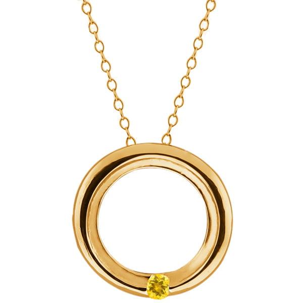 Round Yellow Simulated Citrine 18k Yellow Gold Circle Pendant
