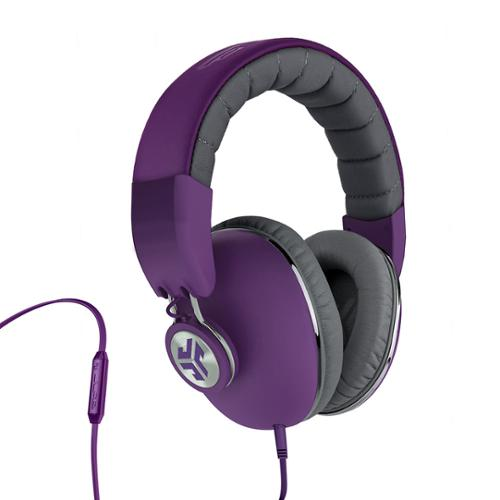 JLab Bombora Premium Over-Ear Headphones w/3.5mm Flat Cable & Remote - Matte Purple