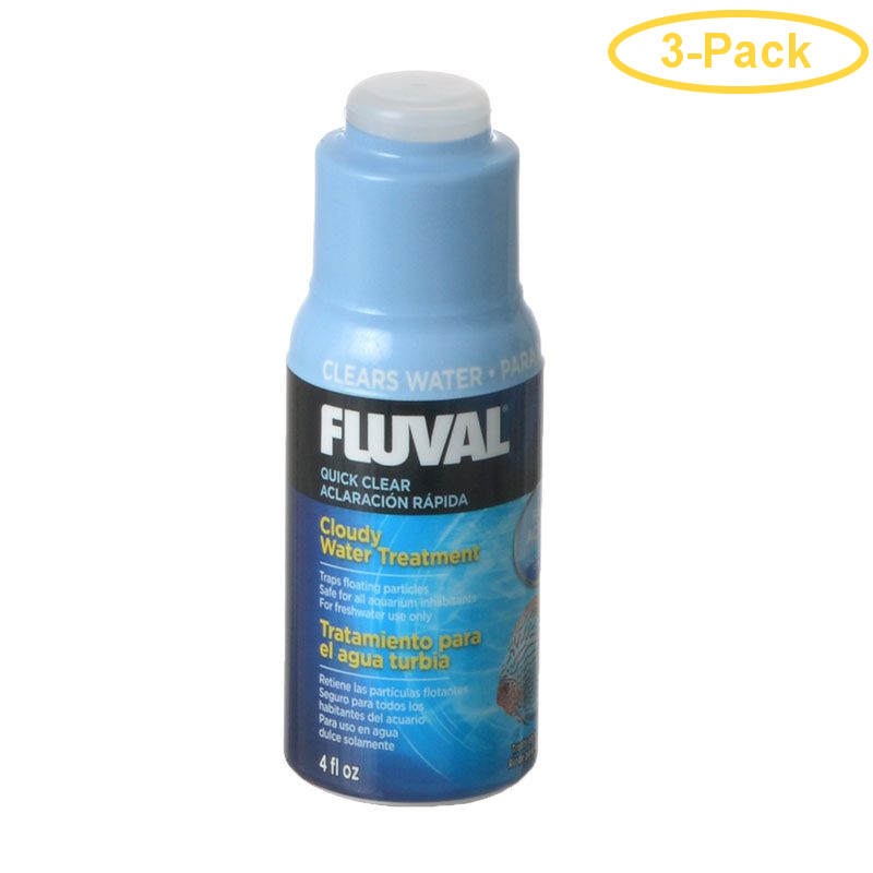 Fluval Quick Clear 4 oz (120 ml) - Treats 480 Gallons - Pack of 3