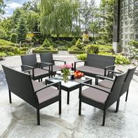 Deals on Gymax 8PCS Rattan Conversation Set Patio Outdoor Furniture Set