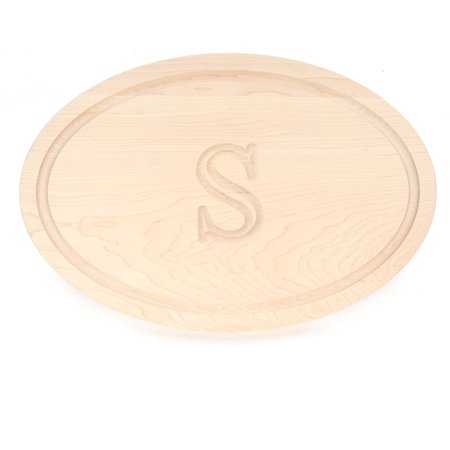 BigWood Boards 420-S Carving Board, Oval Trencher with Juice Well, Large Monogrammed Cutting Board with Groove, Maple Wood Serving Tray,