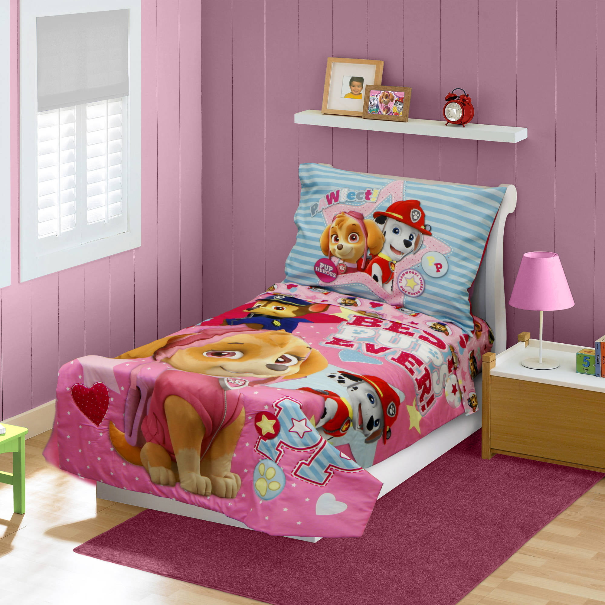 Pink bed sets for girls - Babyboom Nick Jr Paw Patrol Skye Best Pups Ever 4 Piece Toddler Bedding Set Pink Walmart Com