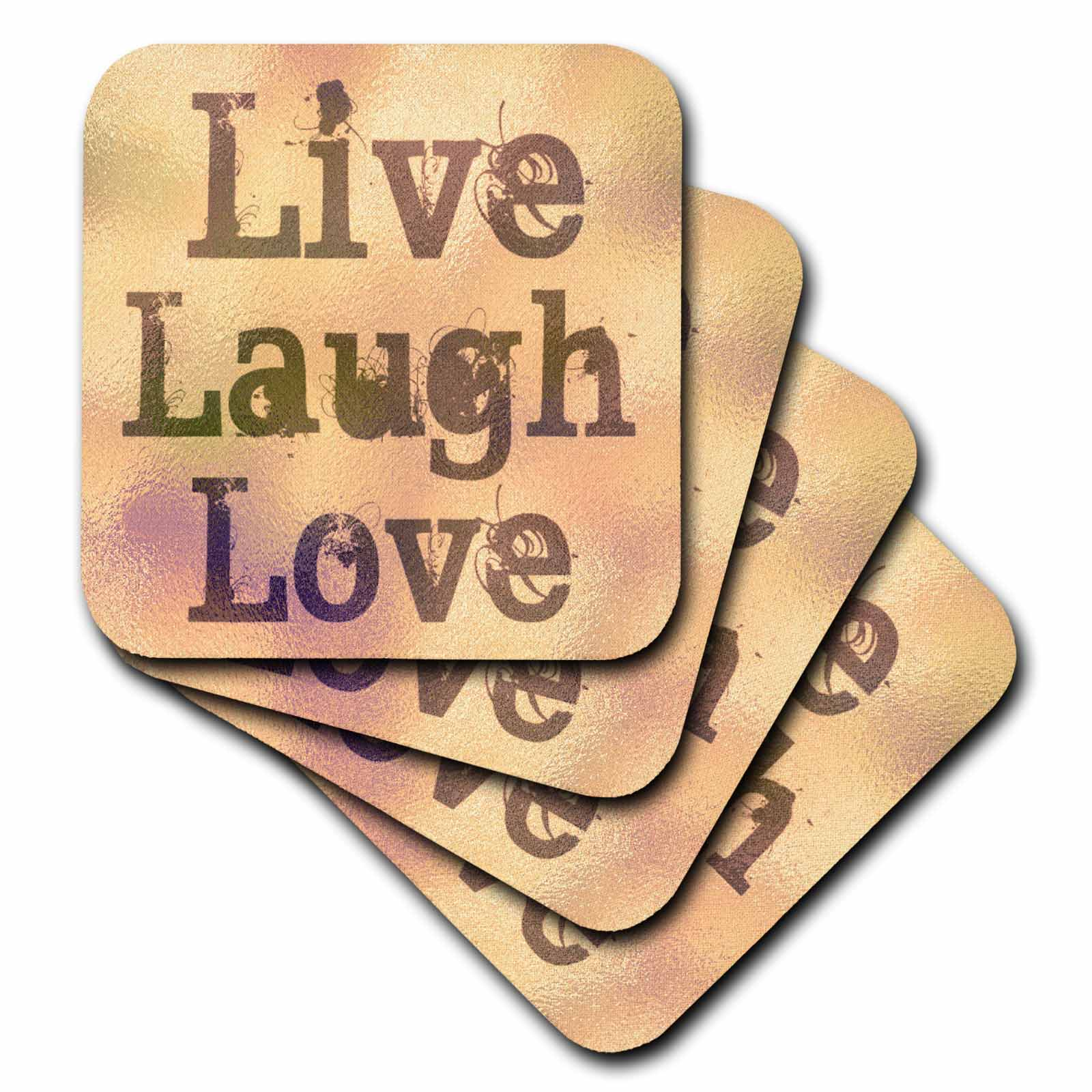 3dRose Stained Glass Peach Live, Laugh, Love- Inspirational Words- Motivational, Soft Coasters, set of 8