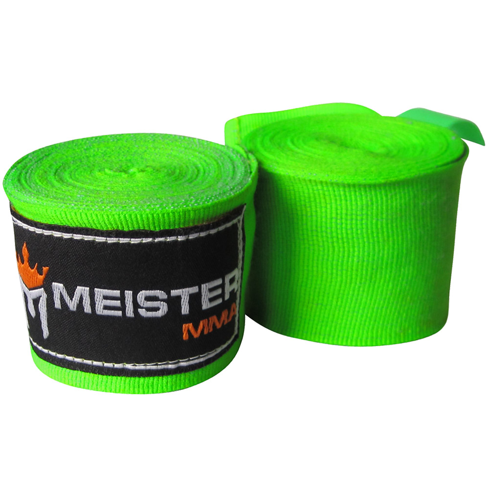 "Meister 180"" Semi-Elastic MMA Hand Wraps (Pair) - Neon Green"