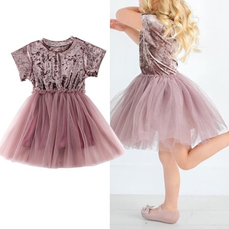 Kids Baby Girl Dresses Velvet Short Sleeve O-Neck Tulle Princess Dress Party Pageant Dresses Skirts Pink 6-12 Months