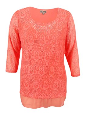 56602891a41 Product Image JM Collection Women s Plus Size Embellished Crocheted Tunic