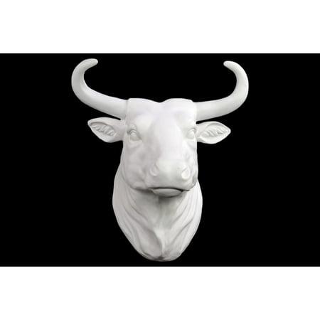 Majestic Wild West Cow Head Wall Decor Matte Finish White Benzara
