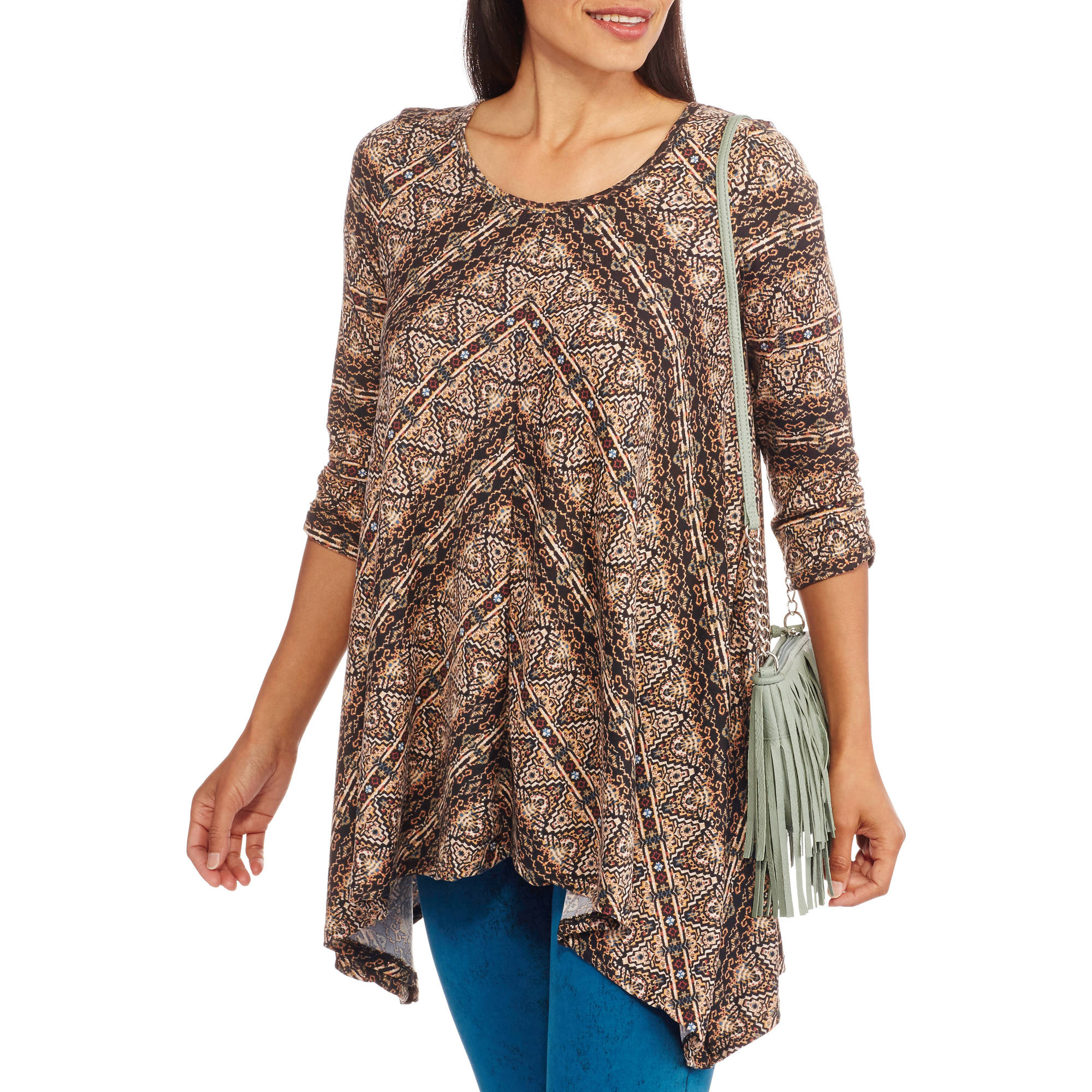 French Laundry Women's Printed Tunic With Sharkbite Hem