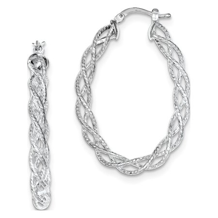 925 Sterling Silver Polished Twisted Hoop (29x41mm) Earrings - image 2 de 2
