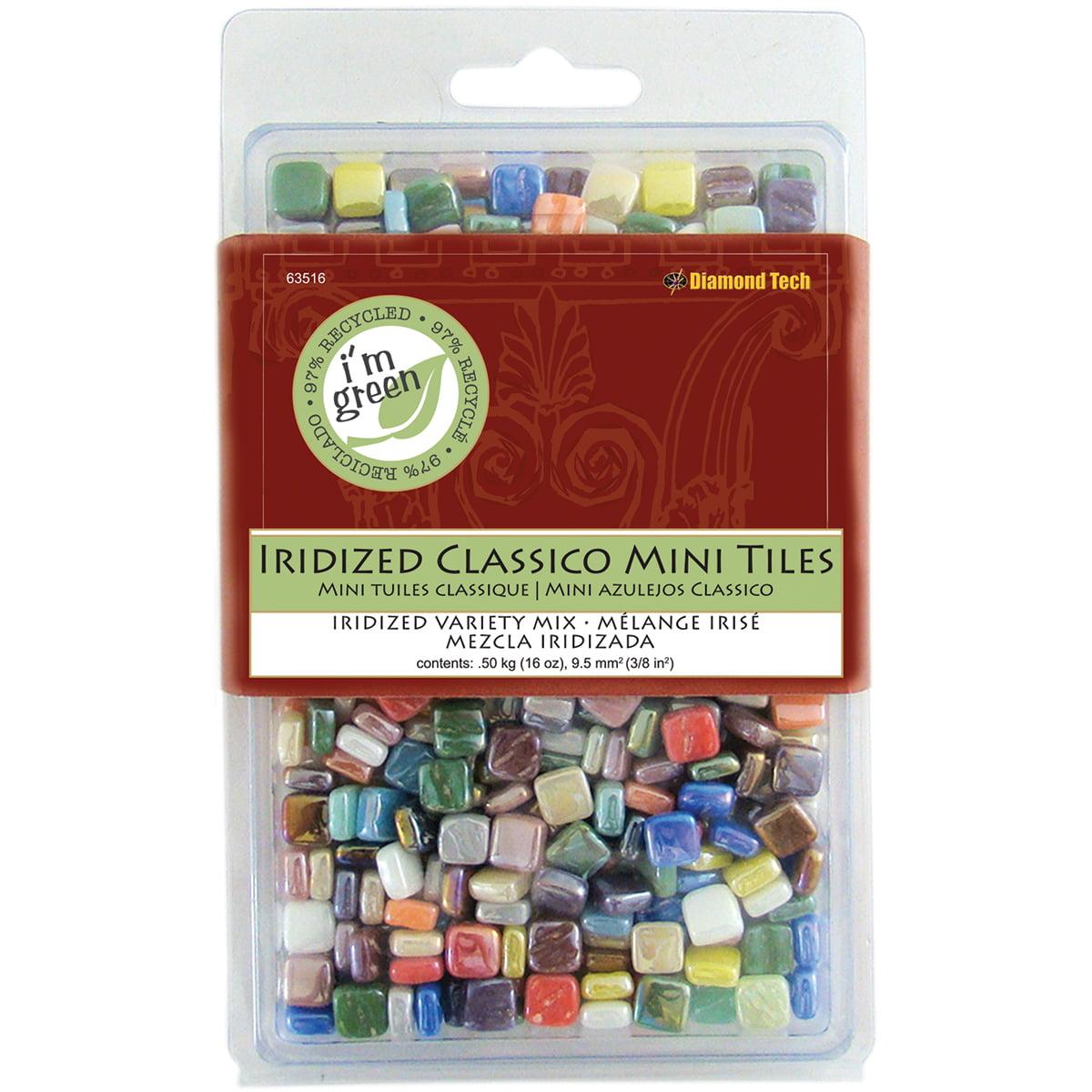 """Classico Mini Iridized Tile Mix, 5/16"""", 16oz, Assorted Colors"""