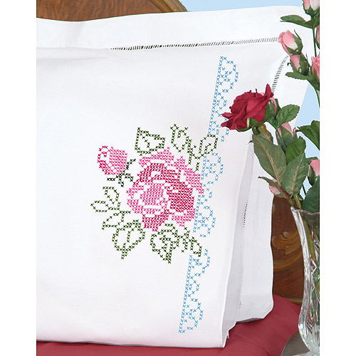 Jack Dempsey XX Roses Stamped Pillowcases With White Perle Edge