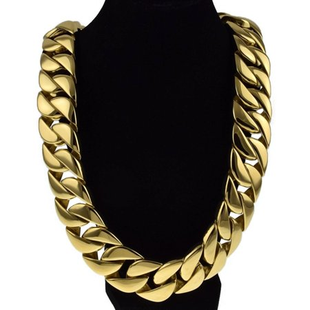 Mens Huge Chain 316L Stainless Steel 30 MM Wide Chunky Cuban Link Gold  Finish 28