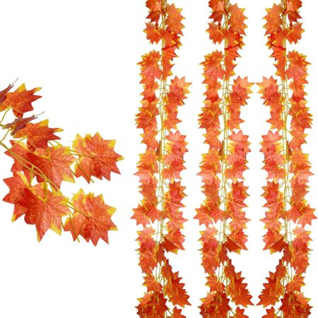 Fall Leaf Garland (Coolmade 12 pack Autumn Artificial Silk Maple Leaf Garland Autumn Leaves Garland Hanging Plant for Home Kitchen Thanksgiving Autumns Wedding)