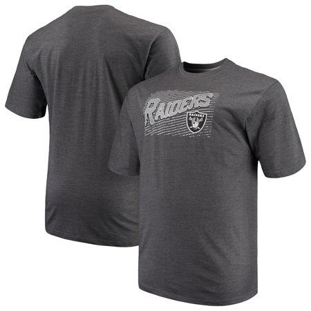 Men's Majestic Charcoal Oakland Raiders Big & Tall Royal Domination Malt T-Shirt